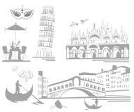 комплект Италии привлекательностей иллюстрация вектора