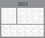 Комплект календаров шаблона на 2013 Стоковое Изображение