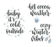Комплект каллиграфии зимы вдохновляющий иллюстрация штока
