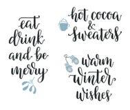 Комплект каллиграфии зимы и рождества иллюстрация штока