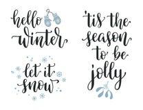 Комплект каллиграфии зимы сезонный иллюстрация штока