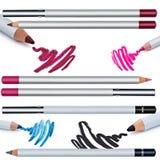 Комплект карандаша для глаз, контур глаза, коллаж, изолированный на белом backgro Стоковая Фотография RF