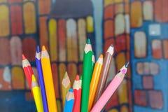 Комплект карандашей чертежа цвета Стоковое Изображение