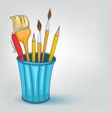 комплект карандаша шаржа домашний разносторонний Стоковое Изображение RF