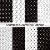 Комплект картины геометрического черного белого цвета косоугольника безшовный элегантный Стоковое Изображение