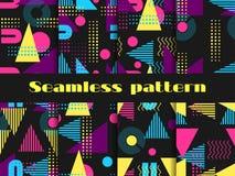 Комплект картины Мемфиса безшовный Геометрические элементы Мемфис в стиле 80 ` s вектор Стоковое Изображение RF