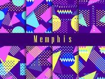 Комплект картины Мемфиса безшовный Геометрические элементы Мемфис в стиле 80s Треугольники, поставленные точки круги и точки, лил иллюстрация вектора