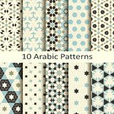 Комплект 10 картин безшовного вектора арабских традиционных геометрических дизайн для крышек, ткань, упаковывая Стоковые Изображения