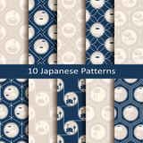 Комплект 10 картин безшовного вектора японских с lotos цветет конструируйте для интерьера, печати, ткани, крышек Стоковые Фото