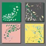 Комплект 4 картин вектора от листьев иллюстрация штока