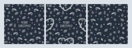 Комплект картин зимы безшовных с сердцами нарисованными рукой, конусами, спрусом сосны, снежинками Стоковое Изображение RF