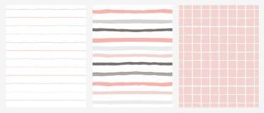 Комплект 3 картин нарисованных рукой скачками геометрических Нашивки и решетка Дизайн серого цвета, розовых и белых иллюстрация штока
