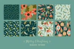 Комплект картин рождества и счастливого Нового Года безшовных иллюстрация штока