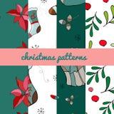 Комплект 4 картин рождества Картина с Рождеством Христовым безшовная Handdraw вектор бесплатная иллюстрация