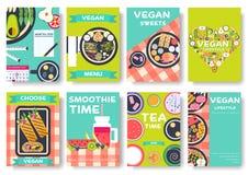 Комплект карточек брошюры вектора Vegan Vegetable шаблон flyear, кассеты, плакаты, обложка книги, знамена vegetarian Стоковое фото RF