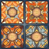 Комплект карточек в винтажном стиле Шаблоны дизайна вектора Винтажные рамки и предпосылки Стоковая Фотография