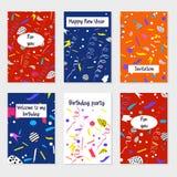 Комплект карточек и приглашений партии иллюстрация штока