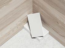 Комплект карточек на деревянной предпосылке, переводе 3d Стоковые Фото