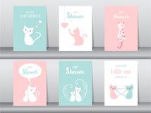 Комплект карточек приглашений детского душа, плакат, приветствие, шаблон, животные, кот, милый, иллюстрации вектора Стоковые Изображения RF