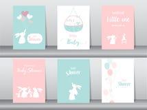 Комплект карточек приглашений детского душа, плакат, приветствие, шаблон, животные, единорог, иллюстрации вектора Стоковое Изображение RF