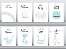 Комплект карточек приглашений детского душа Стоковые Изображения RF