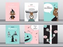 Комплект карточек приглашений хеллоуина, плакат, приветствие, шаблон, животные, иллюстрации вектора Стоковые Фото