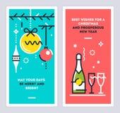 Комплект карточек рождества и Нового Года линейный с ветвями рождественской елки, шариками, бутылкой шампанского и бокалами векто Стоковые Фотографии RF