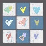 Комплект карточек сердец grunge или печатей, плаката, карточек приглашения, шаблона, поздравительных открыток с вектором элементо Стоковая Фотография
