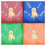 Комплект карточек с собаками на Новый Год Стоковая Фотография RF
