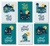 Комплект 6 карточек хеллоуина: party приглашение, приветствие, карточки, муха Стоковое фото RF