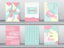 Комплект карточки дня ` s валентинки на ретро картине Стоковые Изображения