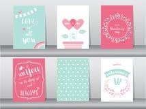 Комплект карточки дня ` s валентинки Стоковое фото RF
