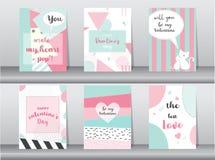 Комплект карточки дня ` s валентинки Стоковые Фотографии RF