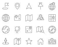 Комплект карты и картоведение выравнивают значки вектора бесплатная иллюстрация