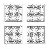 Комплект квадратных лабиринтов малыши игры Головоломка для детей Головоломка лабиринта Плоская иллюстрация вектора изолированная  иллюстрация штока