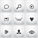 Комплект квадратных кнопок применения: сеть Стоковые Изображения