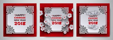 Комплект китайской Нового Года поздравительной открытки 2018 с белой богато украшенной рамкой, Сакурой/вишней цветет дерево, крас Стоковые Изображения RF