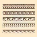 Комплект классицистических флористических линий (собрания год сбора винограда). Стоковое Фото