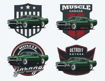 Комплект классических логотипа, эмблем и значков автомобиля мышцы Стоковые Фото