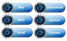 Комплект кнопки навигации вектора серебряный Стоковые Изображения