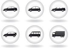 Комплект кнопки перехода с знаком автомобиля Стоковые Фото