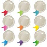 Комплект кнопки цветастых тесемок глянцеватый пустой Стоковые Изображения RF