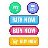 Комплект кнопок сети покупает теперь, вектор значка тележки Стоковое Изображение