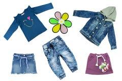 Комплект коллажа одежд детей Весна концепции и ткань лета стоковое изображение