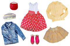 Комплект коллажа одежд детей Одежды осени и лета весны концепции Изолировано на белизне конец вверх стоковое фото