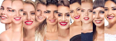 Комплект коллажа сторон женщин Стоковое Фото