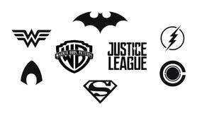Комплект комиксов DC лиги правосудия чернит логотипы Стоковое Изображение