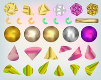 Комплект комплекта цвета реалистических геометрических форм 3d прозрачного с изолированными геометрическими объектами другого цве иллюстрация вектора