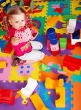 комплект конструкции ребенка блока домашний играя Стоковое фото RF