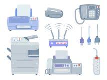 Комплект конторских машин Иллюстрация штока